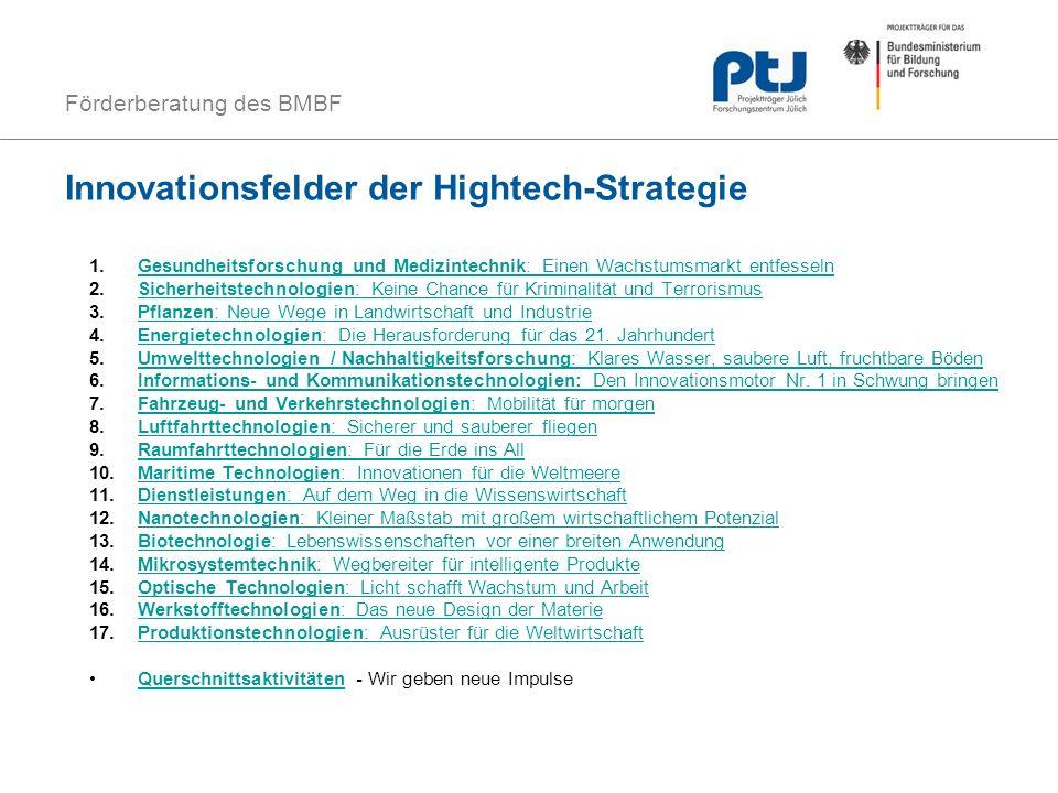 Förderberatung des BMBF Innovationsfelder der Hightech-Strategie 1.Gesundheitsforschung und Medizintechnik: Einen Wachstumsmarkt entfesselnGesundheits