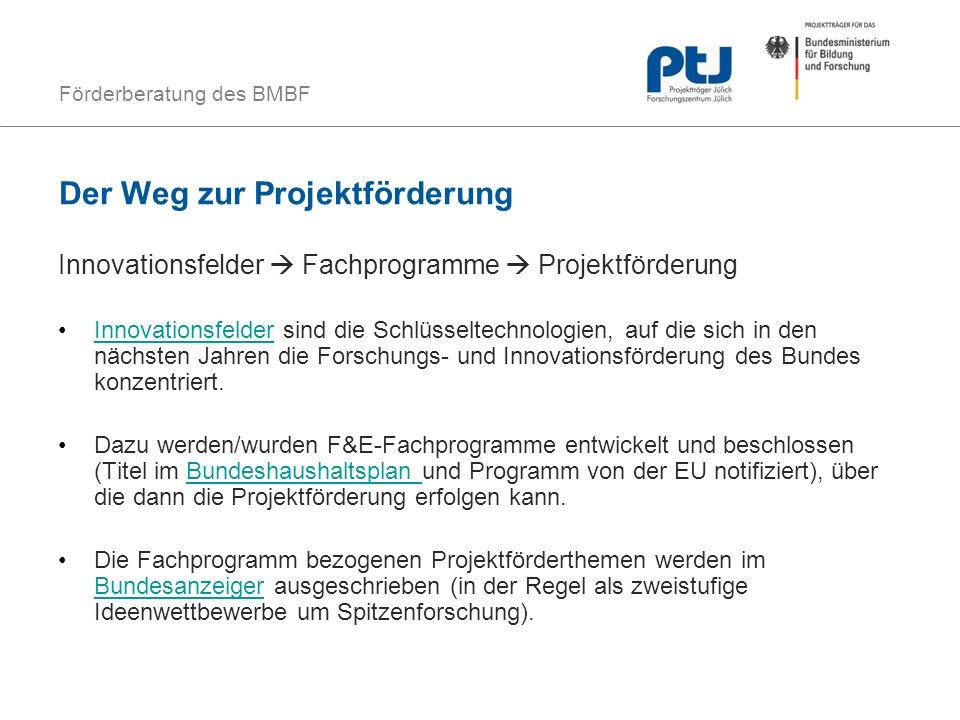 Förderberatung des BMBF Der Weg zur Projektförderung Innovationsfelder Fachprogramme Projektförderung Innovationsfelder sind die Schlüsseltechnologien