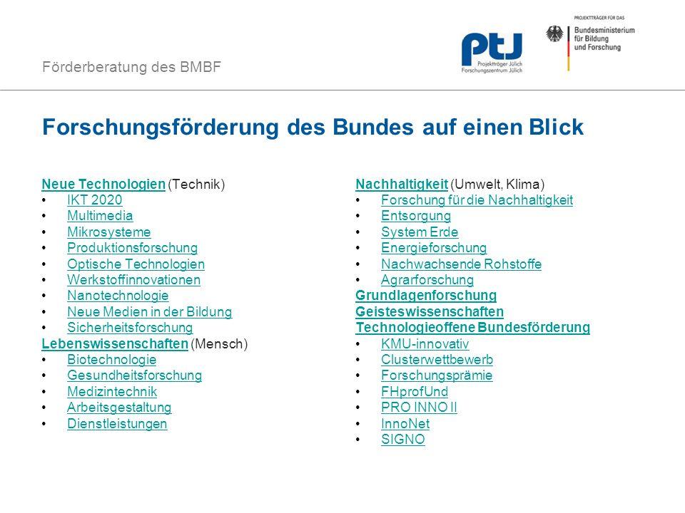 Förderberatung des BMBF Forschungsförderung des Bundes auf einen Blick Neue TechnologienNeue Technologien (Technik) IKT 2020 Multimedia Mikrosysteme P