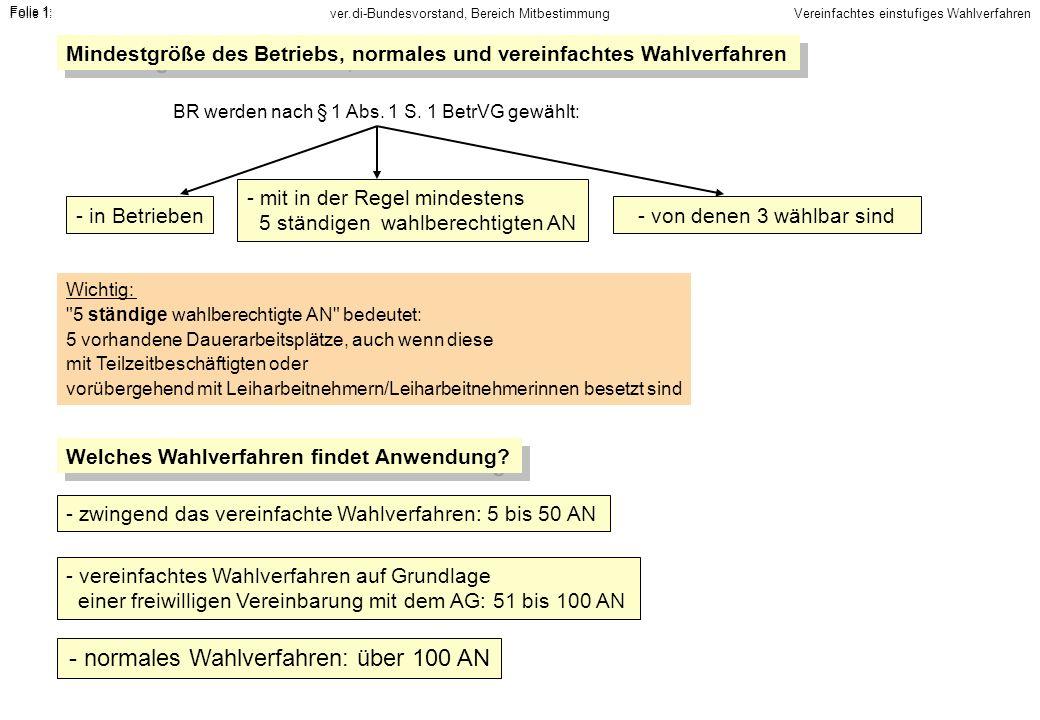 ver.di-Bundesvorstand, Bereich MitbestimmungFolie 1: Mindestgröße des Betriebs, normales und vereinfachtes Wahlverfahren - in Betrieben - mit in der R