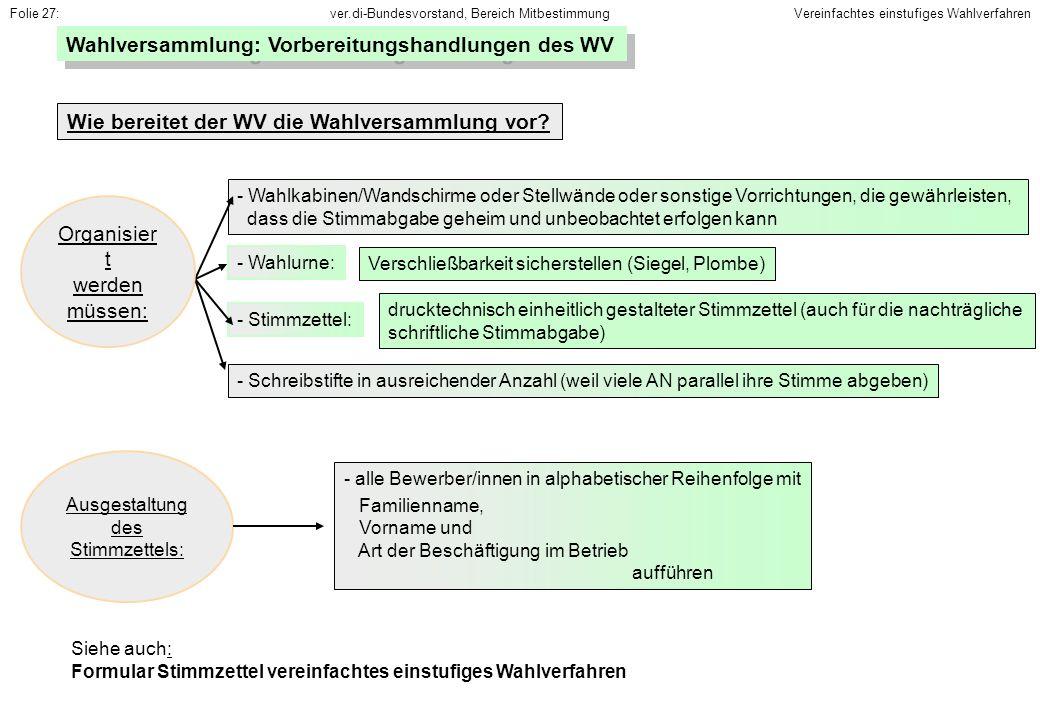 ver.di-Bundesvorstand, Bereich MitbestimmungFolie 27: Siehe auch: Formular Stimmzettel vereinfachtes einstufiges Wahlverfahren Wahlversammlung: Vorber