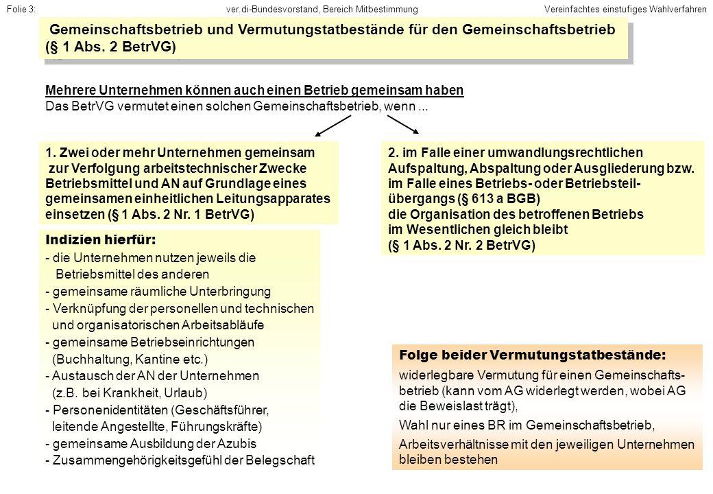 ver.di-Bundesvorstand, Bereich MitbestimmungFolie 4: Betriebsteil, Kleinstbetrieb (§ 4 Abs.