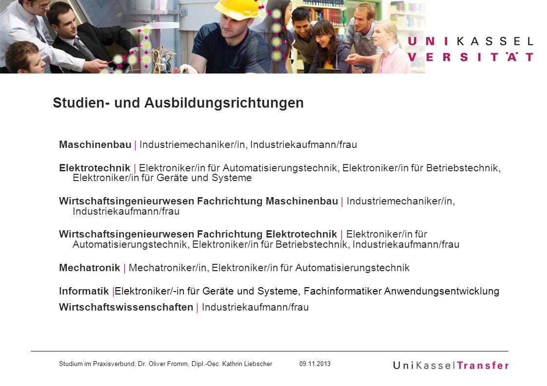 Studium im Praxisverbund, Dr. Oliver Fromm, Dipl.-Oec. Kathrin Liebscher 09.11.2013 Studien- und Ausbildungsrichtungen Maschinenbau | Industriemechani