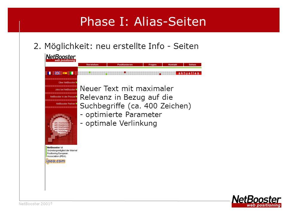 NetBooster 2001 © Phase I: Alias-Seiten 2.