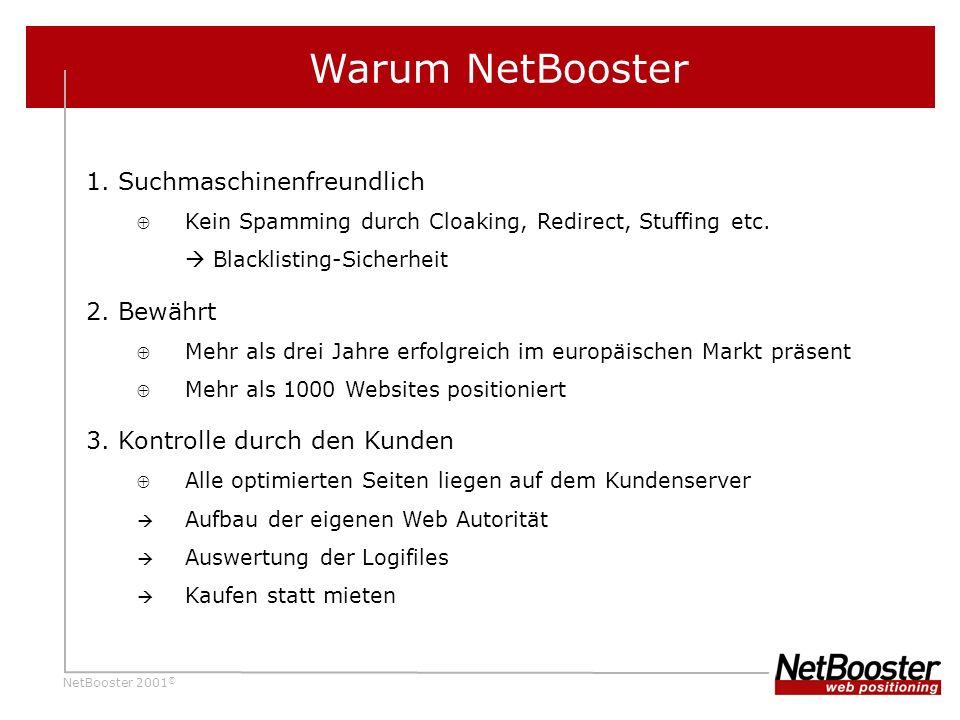 NetBooster 2001 © Warum NetBooster 1.