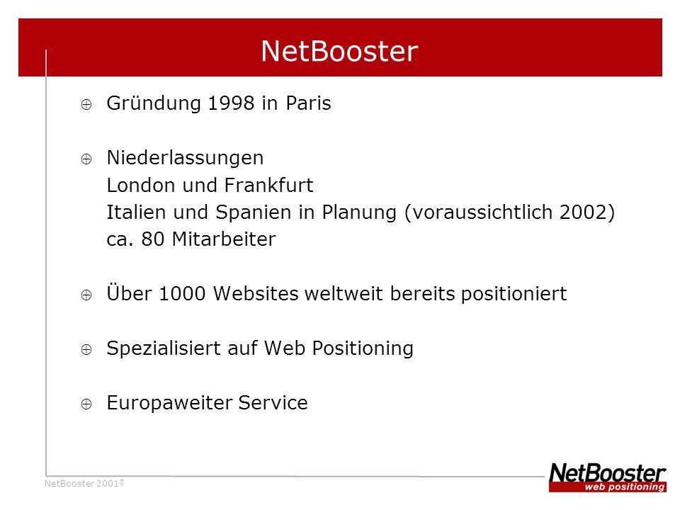 NetBooster 2001 © NetBooster Gründung 1998 in Paris Niederlassungen London und Frankfurt Italien und Spanien in Planung (voraussichtlich 2002) ca.