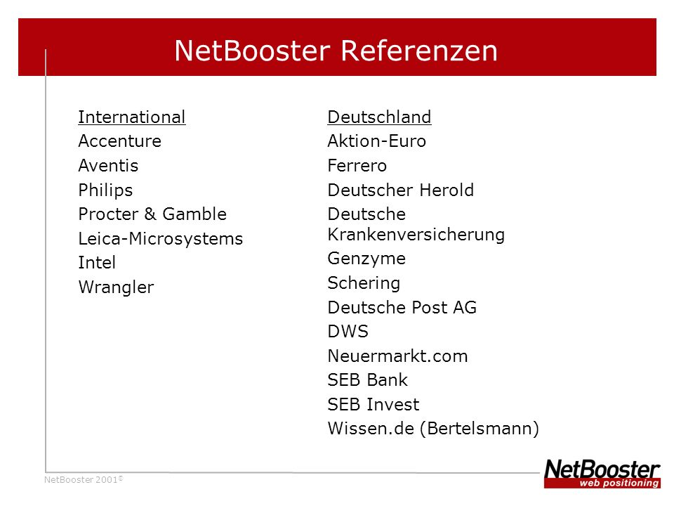 NetBooster 2001 © NetBooster Referenzen International Accenture Aventis Philips Procter & Gamble Leica-Microsystems Intel Wrangler Deutschland Aktion-