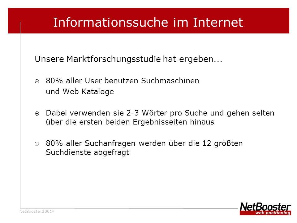 NetBooster 2001 © Informationssuche im Internet Unsere Marktforschungsstudie hat ergeben...
