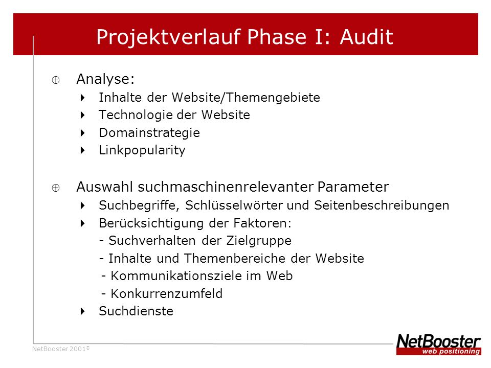 NetBooster 2001 © Analyse: Inhalte der Website/Themengebiete Technologie der Website Domainstrategie Linkpopularity Auswahl suchmaschinenrelevanter Pa
