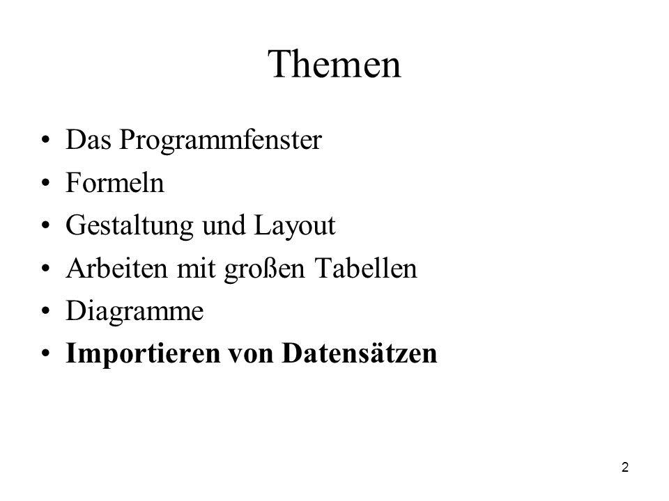 2 Themen Das Programmfenster Formeln Gestaltung und Layout Arbeiten mit großen Tabellen Diagramme Importieren von Datensätzen