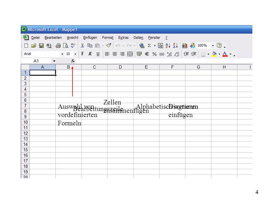4 Auswahl von vordefinierten Formeln Bearbeitungszeile Zellen zusammenfügen Alphabetisch sortierenDiagramm einfügen