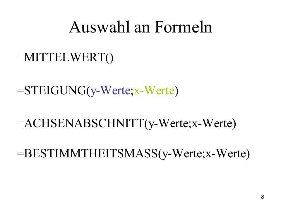 8 Auswahl an Formeln =MITTELWERT() =STEIGUNG(y-Werte;x-Werte) =ACHSENABSCHNITT(y-Werte;x-Werte) =BESTIMMTHEITSMASS(y-Werte;x-Werte)