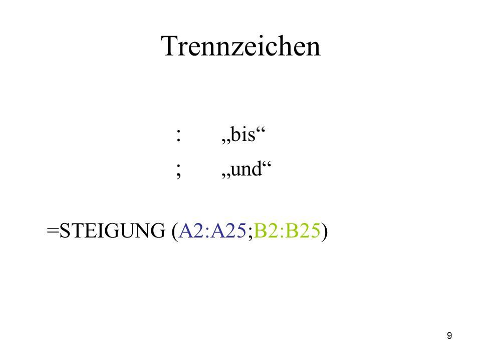 9 Trennzeichen : bis ; und =STEIGUNG (A2:A25;B2:B25)