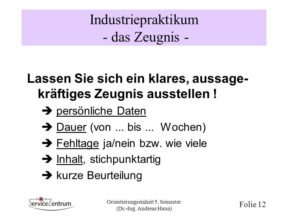 Orientierungseinheit 5. Semester (Dr.-Ing. Andreas Haun) Folie 12 Industriepraktikum - das Zeugnis - Lassen Sie sich ein klares, aussage- kräftiges Ze