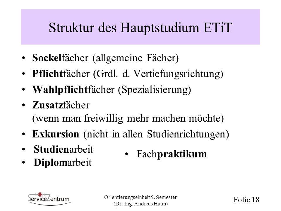 Orientierungseinheit 5. Semester (Dr.-Ing. Andreas Haun) Folie 18 Struktur des Hauptstudium ETiT Sockelfächer (allgemeine Fächer) Pflichtfächer (Grdl.