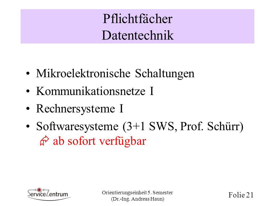 Orientierungseinheit 5. Semester (Dr.-Ing. Andreas Haun) Folie 21 Pflichtfächer Datentechnik Mikroelektronische Schaltungen Kommunikationsnetze I Rech