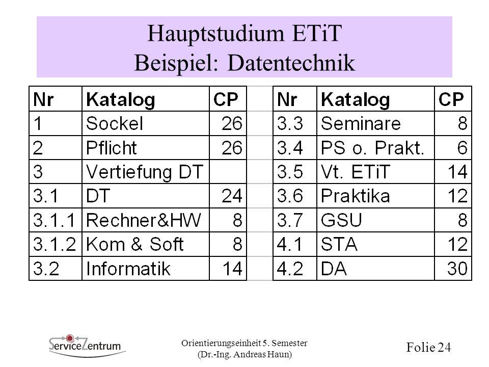 Orientierungseinheit 5. Semester (Dr.-Ing. Andreas Haun) Folie 24 Hauptstudium ETiT Beispiel: Datentechnik