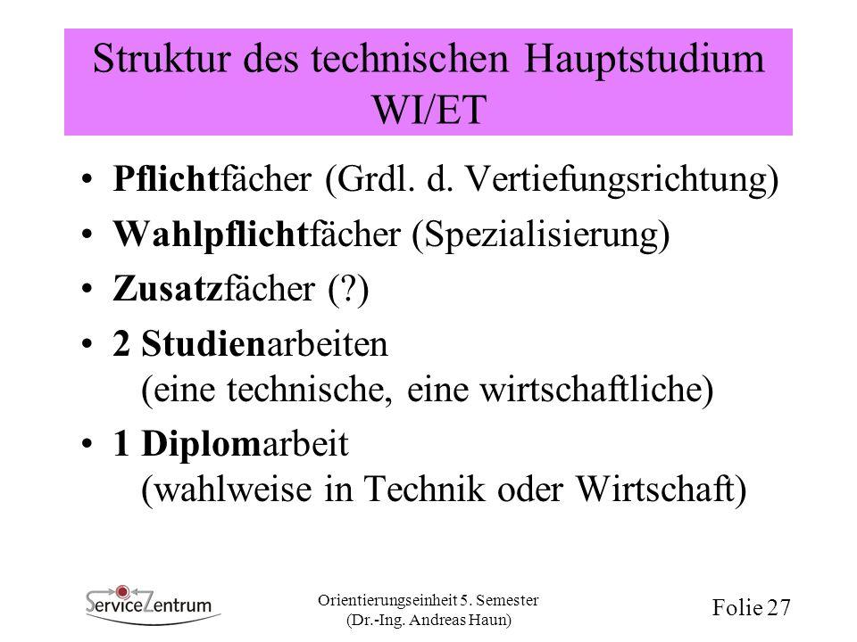 Orientierungseinheit 5. Semester (Dr.-Ing. Andreas Haun) Folie 27 Struktur des technischen Hauptstudium WI/ET Pflichtfächer (Grdl. d. Vertiefungsricht
