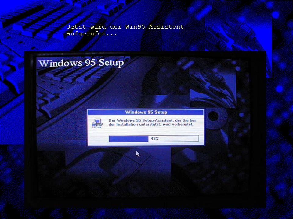 Nach dem hochfahren des Computers mittels der Bootdiskette mit CD-Treiber und Eingabe des Befehls D:\Setup erscheint der folgende Bildschirm auf dem Monitor.