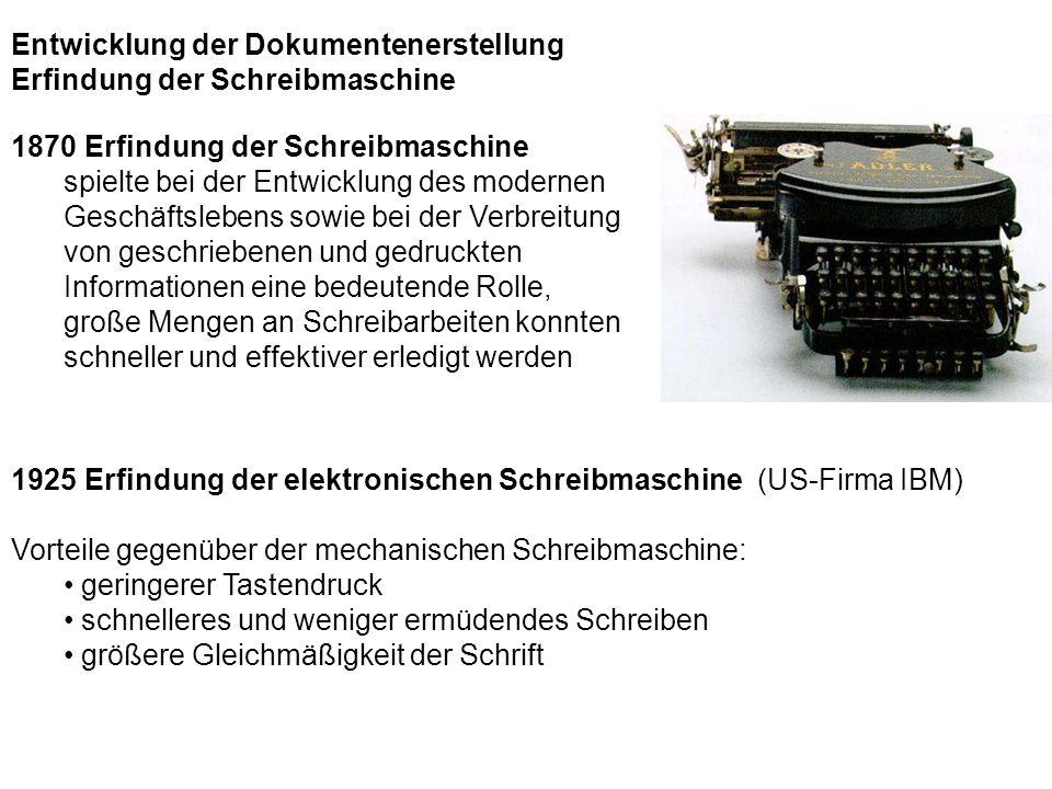 1870 Erfindung der Schreibmaschine spielte bei der Entwicklung des modernen Geschäftslebens sowie bei der Verbreitung von geschriebenen und gedruckten