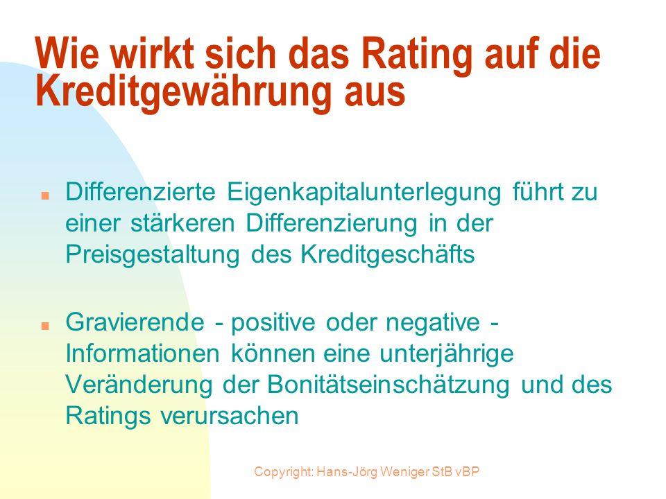 Copyright: Hans-Jörg Weniger StB vBP Wer muß geratet werden ? n Basel II ist auf Kreditnehmer mit einem Kreditvolumen ab 500.000 DM anzuwenden n Befür