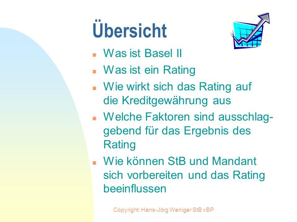 Copyright: Hans-Jörg Weniger StB vBP Ausblick und Stimmen zu Basel II n Wegen Basel II benötige ich nun ein Rating. Dies bindet Zeit und verursacht Ko