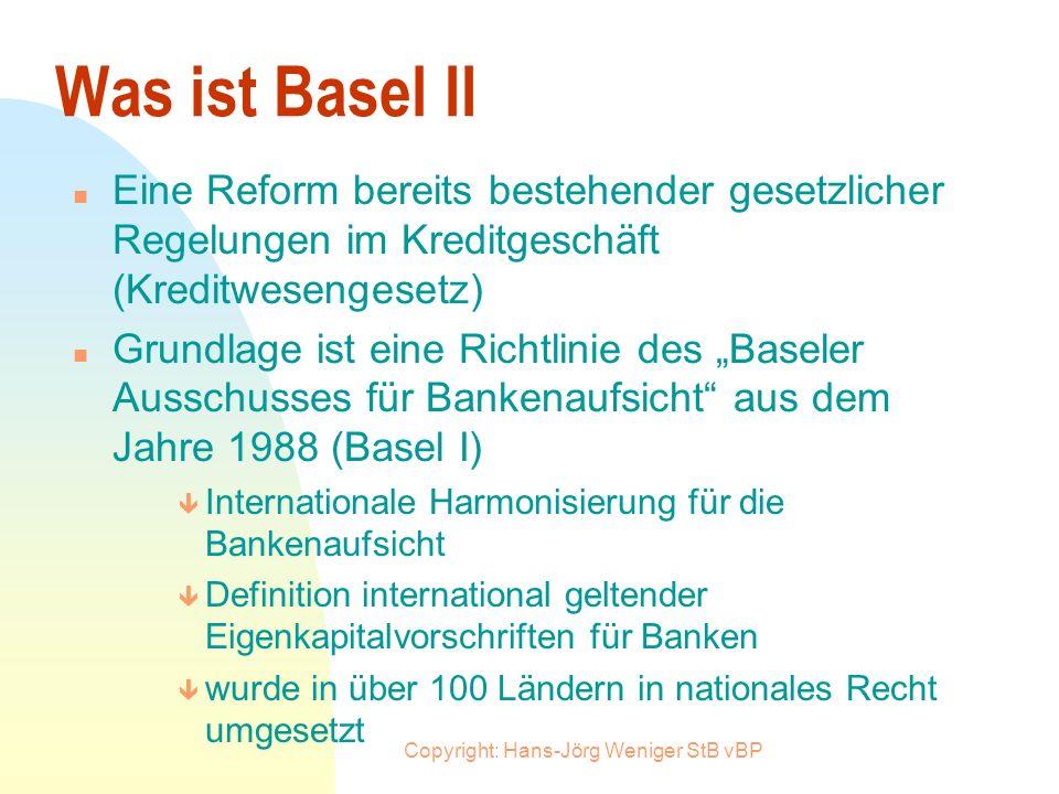 Copyright: Hans-Jörg Weniger StB vBP Übersicht n Was ist Basel II n Was ist ein Rating n Wie wirkt sich das Rating auf die Kreditgewährung aus n Welch