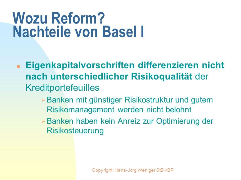Copyright: Hans-Jörg Weniger StB vBP Wozu Reform? Nachteile von Basel I n Unabhängig von der Bonität des Schuldners muß jeder Kredit von der Bank mit