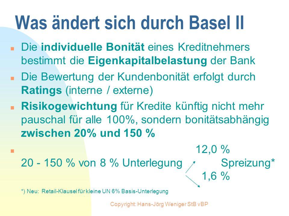 Copyright: Hans-Jörg Weniger StB vBP Wozu Reform? Nachteile von Basel I n Eigenkapitalvorschriften differenzieren nicht nach unterschiedlicher Risikoq