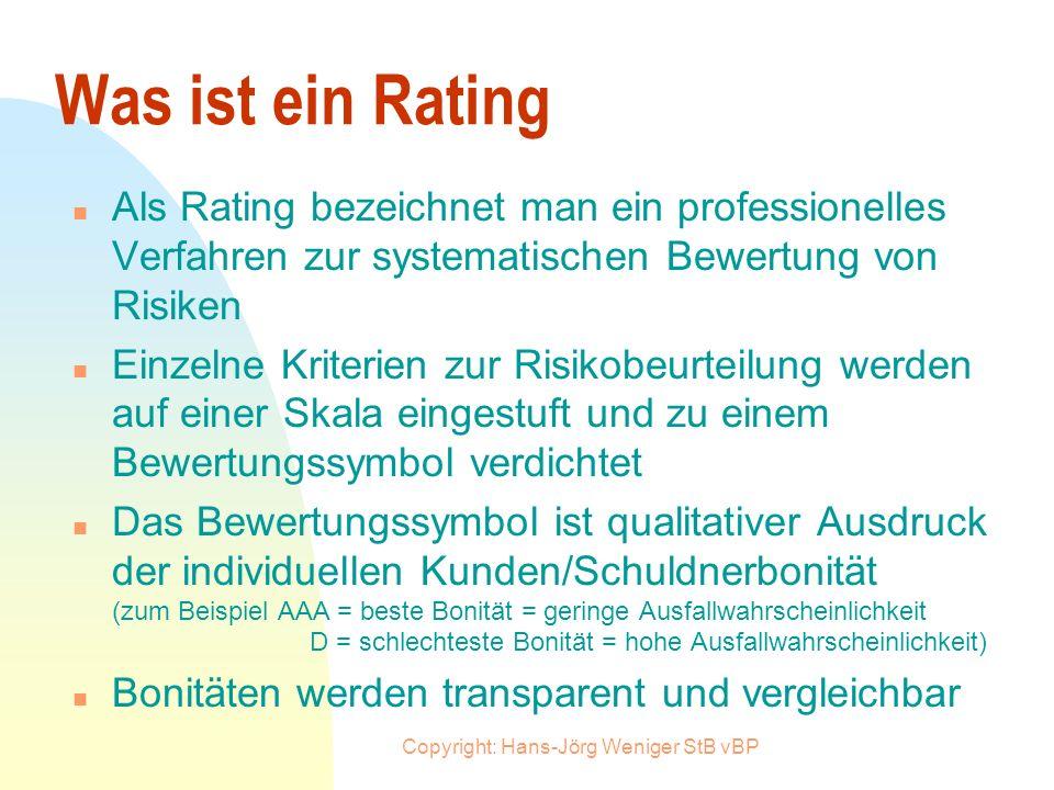 Copyright: Hans-Jörg Weniger StB vBP Was ändert sich durch Basel II n Die individuelle Bonität eines Kreditnehmers bestimmt die Eigenkapitalbelastung