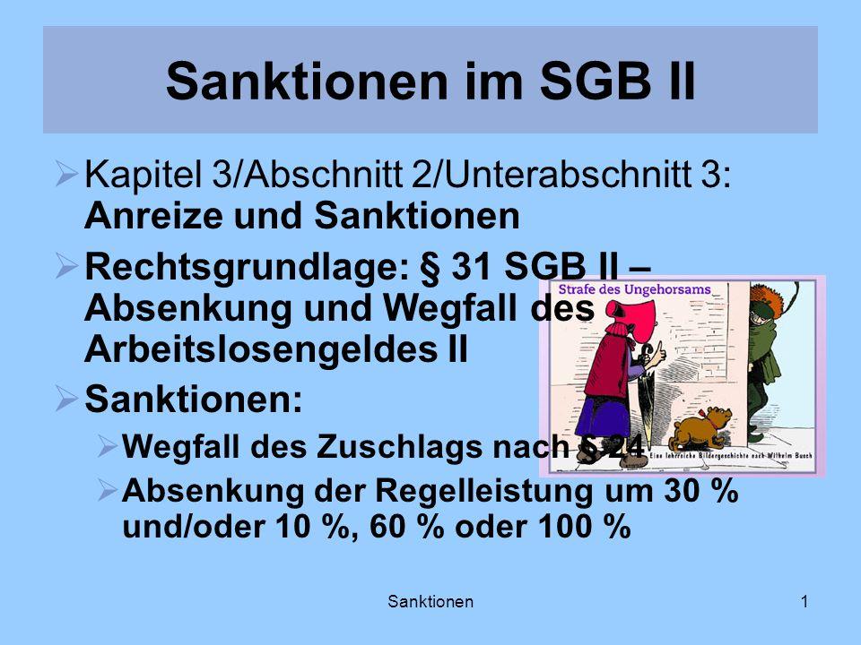 Sanktionen1 Sanktionen im SGB II Kapitel 3/Abschnitt 2/Unterabschnitt 3: Anreize und Sanktionen Rechtsgrundlage: § 31 SGB II – Absenkung und Wegfall d