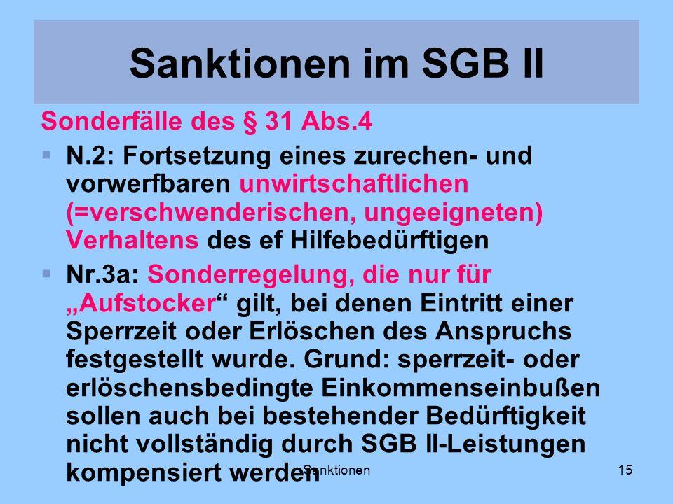Sanktionen15 Sonderfälle des § 31 Abs.4 N.2: Fortsetzung eines zurechen- und vorwerfbaren unwirtschaftlichen (=verschwenderischen, ungeeigneten) Verha