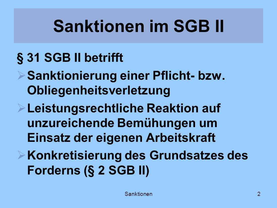 Sanktionen2 § 31 SGB II betrifft Sanktionierung einer Pflicht- bzw. Obliegenheitsverletzung Leistungsrechtliche Reaktion auf unzureichende Bemühungen