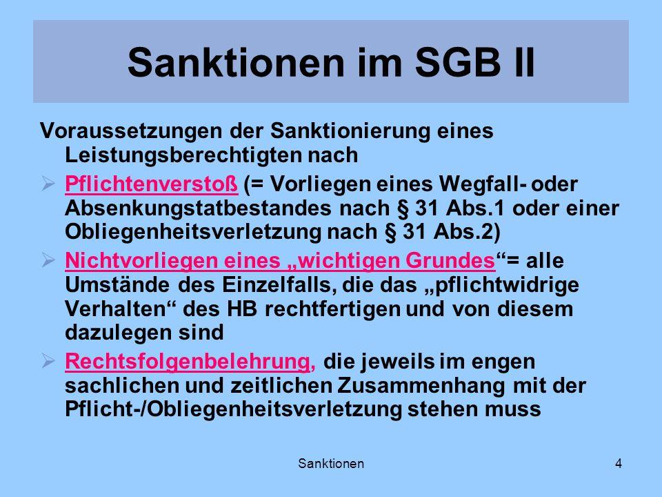 Sanktionen4 Voraussetzungen der Sanktionierung eines Leistungsberechtigten nach Pflichtenverstoß (= Vorliegen eines Wegfall- oder Absenkungstatbestand