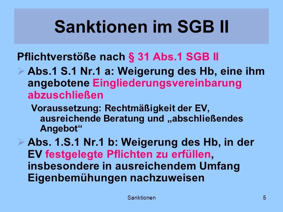 Sanktionen5 Pflichtverstöße nach § 31 Abs.1 SGB II Abs.1 S.1 Nr.1 a: Weigerung des Hb, eine ihm angebotene Eingliederungsvereinbarung abzuschließen Vo