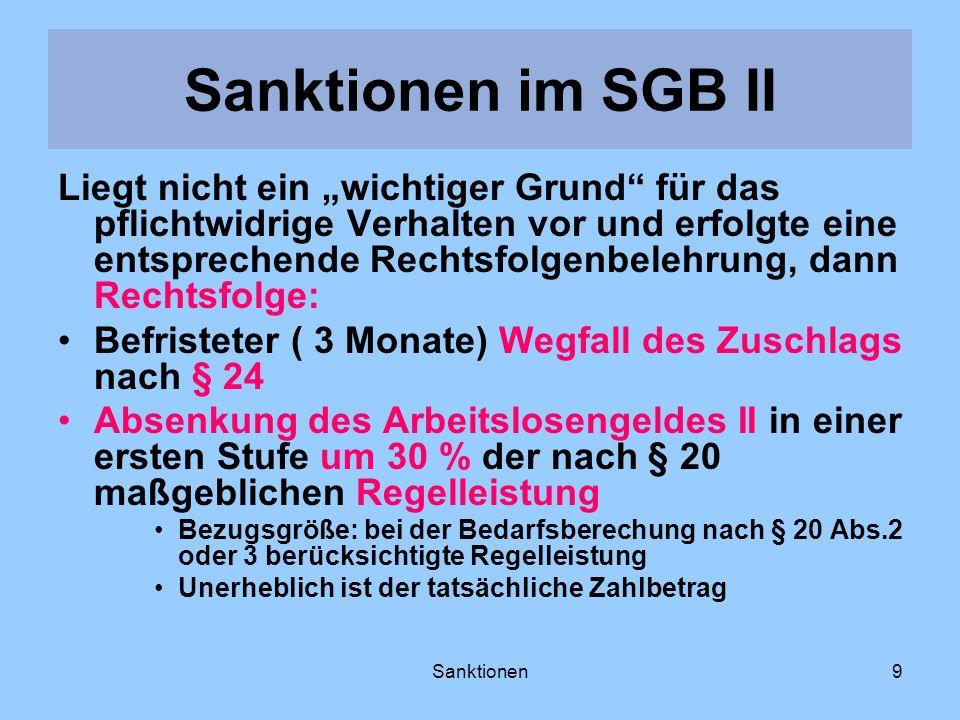 Sanktionen9 Liegt nicht ein wichtiger Grund für das pflichtwidrige Verhalten vor und erfolgte eine entsprechende Rechtsfolgenbelehrung, dann Rechtsfol