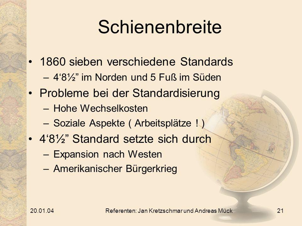 20.01.04Referenten: Jan Kretzschmar und Andreas Mück21 Schienenbreite 1860 sieben verschiedene Standards –48½ im Norden und 5 Fuß im Süden Probleme bei der Standardisierung –Hohe Wechselkosten –Soziale Aspekte ( Arbeitsplätze .