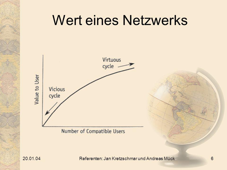 20.01.04Referenten: Jan Kretzschmar und Andreas Mück6 Wert eines Netzwerks