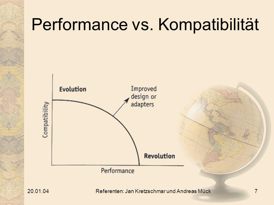 20.01.04Referenten: Jan Kretzschmar und Andreas Mück7 Performance vs. Kompatibilität