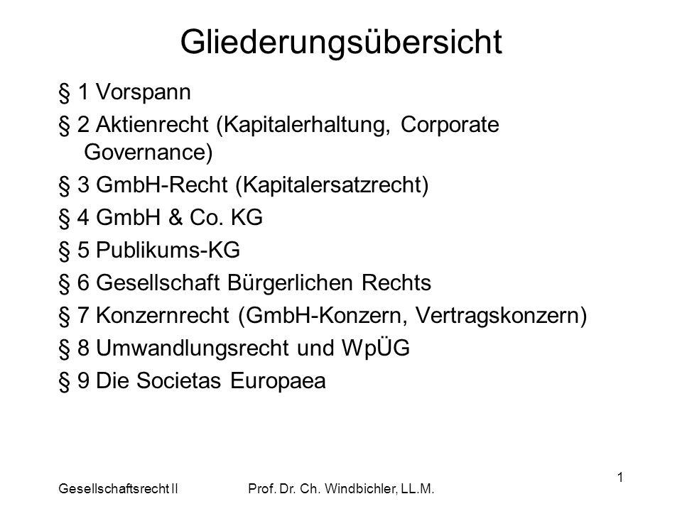 Gesellschaftsrecht IIProf. Dr. Ch. Windbichler, LL.M. 1 Gliederungsübersicht § 1 Vorspann § 2 Aktienrecht (Kapitalerhaltung, Corporate Governance) § 3