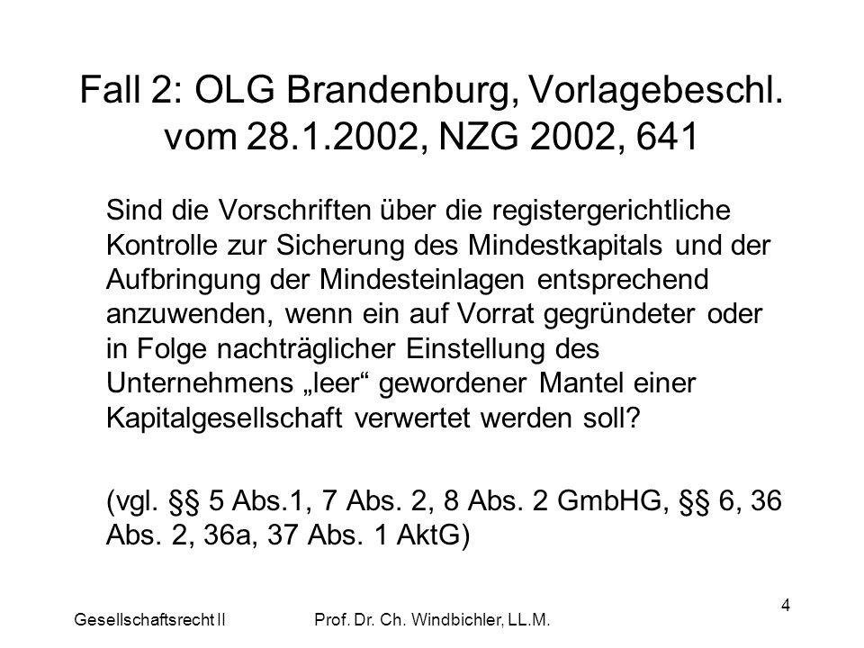 Gesellschaftsrecht IIProf. Dr. Ch. Windbichler, LL.M. 4 Fall 2: OLG Brandenburg, Vorlagebeschl. vom 28.1.2002, NZG 2002, 641 Sind die Vorschriften übe