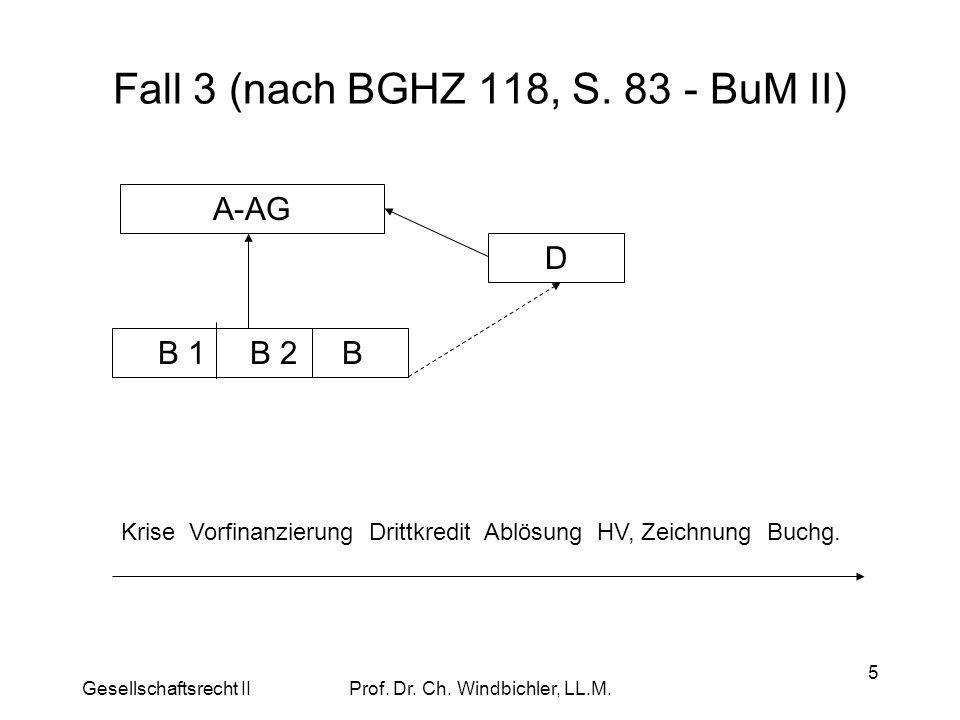 Gesellschaftsrecht IIProf. Dr. Ch. Windbichler, LL.M. 5 Fall 3 (nach BGHZ 118, S. 83 - BuM II) A-AG B 1 B 2 B D Krise Vorfinanzierung Drittkredit Ablö