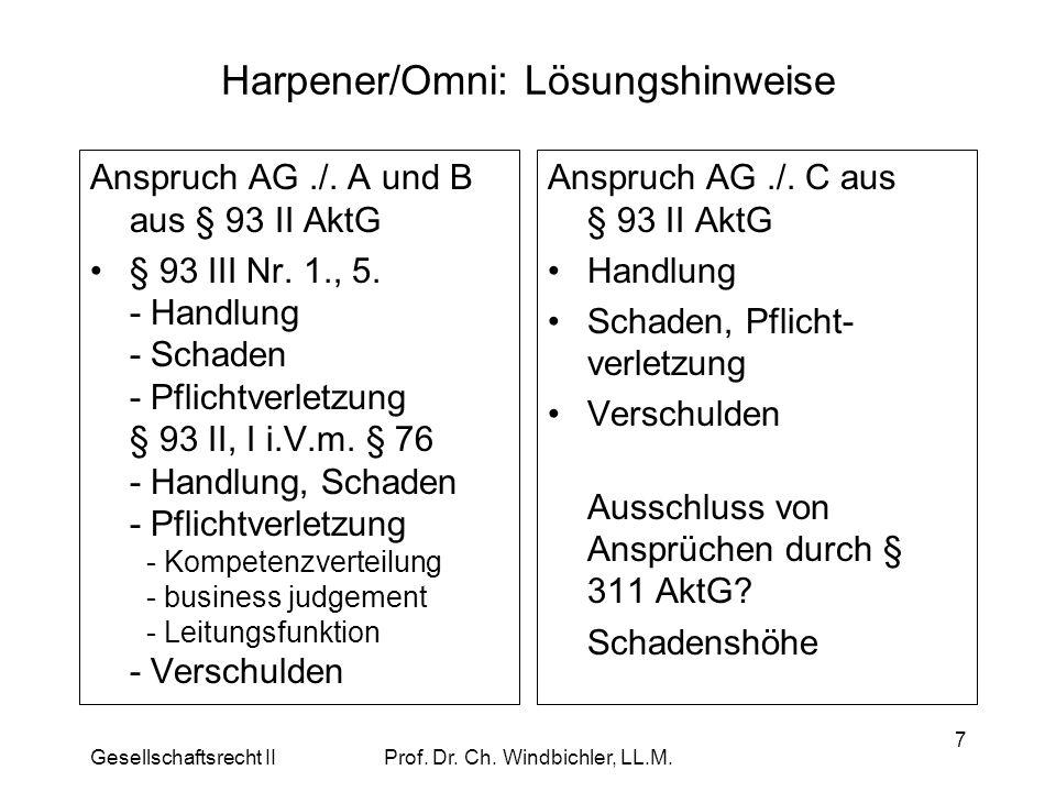 Gesellschaftsrecht IIProf. Dr. Ch. Windbichler, LL.M. 7 Harpener/Omni: Lösungshinweise Anspruch AG./. A und B aus § 93 II AktG § 93 III Nr. 1., 5. - H