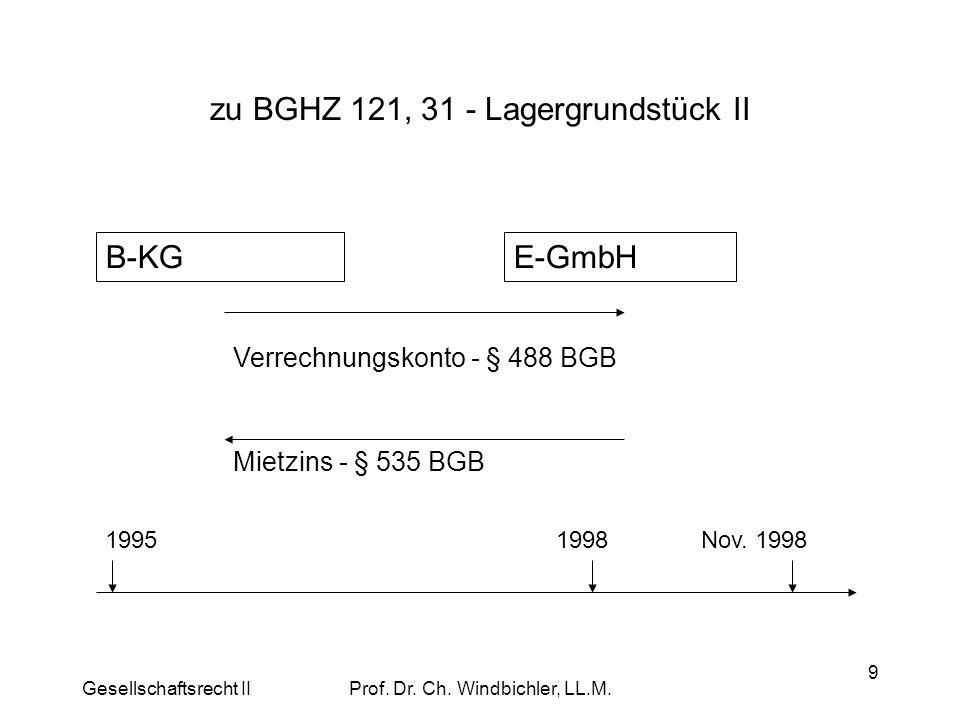 Gesellschaftsrecht IIProf. Dr. Ch. Windbichler, LL.M. 9 zu BGHZ 121, 31 - Lagergrundstück II B-KGE-GmbH Verrechnungskonto - § 488 BGB Mietzins - § 535