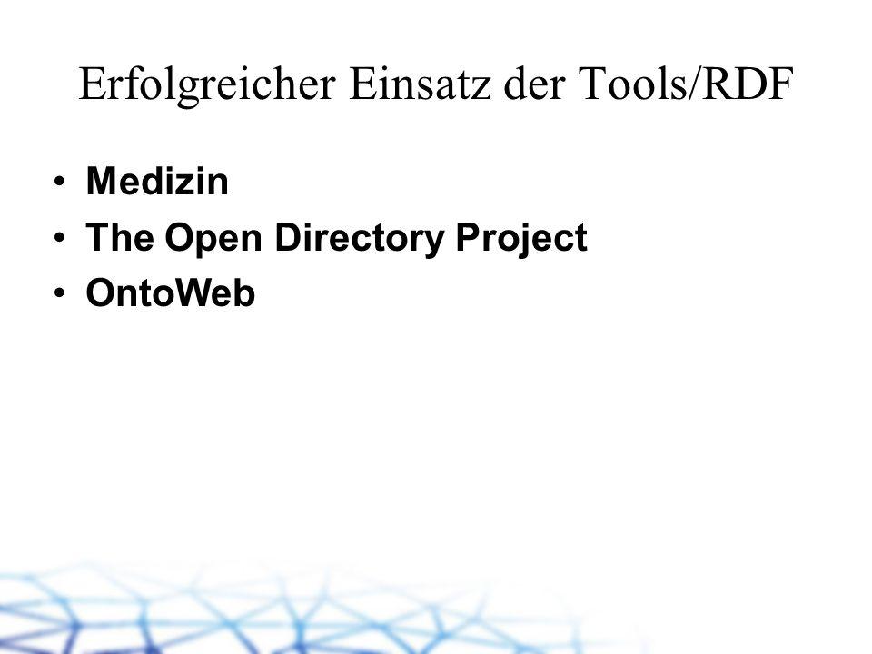 Erfolgreicher Einsatz der Tools/RDF Medizin The Open Directory Project OntoWeb