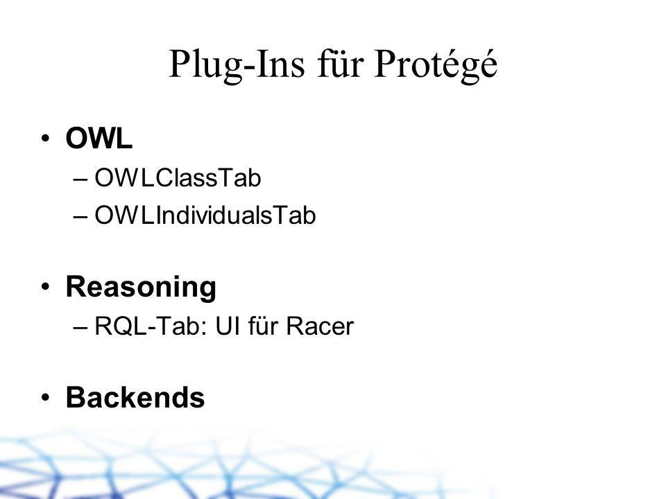 Plug-Ins für Protégé OWL –OWLClassTab –OWLIndividualsTab Reasoning –RQL-Tab: UI für Racer Backends