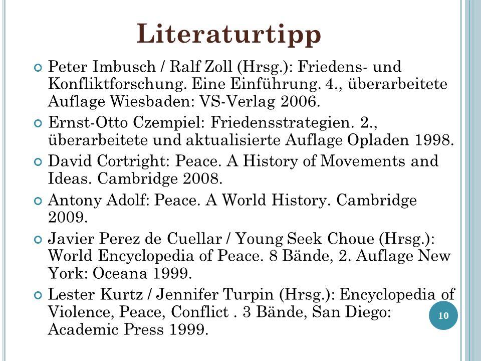 Literaturtipp Peter Imbusch / Ralf Zoll (Hrsg.): Friedens- und Konfliktforschung. Eine Einführung. 4., überarbeitete Auflage Wiesbaden: VS-Verlag 2006