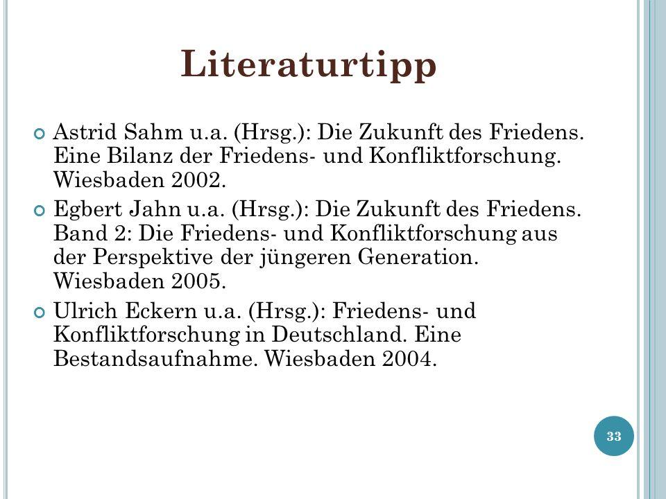 Literaturtipp Astrid Sahm u.a. (Hrsg.): Die Zukunft des Friedens. Eine Bilanz der Friedens- und Konfliktforschung. Wiesbaden 2002. Egbert Jahn u.a. (H
