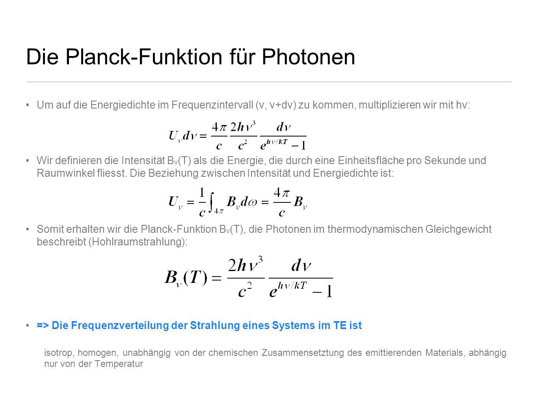 Die Planck-Funktion für Photonen Um auf die Energiedichte im Frequenzintervall (ν, ν+dν) zu kommen, multiplizieren wir mit hν: Wir definieren die Inte