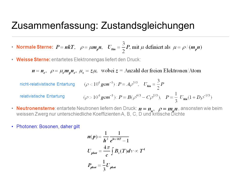 Zusammenfassung: Zustandsgleichungen Normale Sterne: Weisse Sterne: entartetes Elektronengas liefert den Druck: nicht-relativistische Entartung relati
